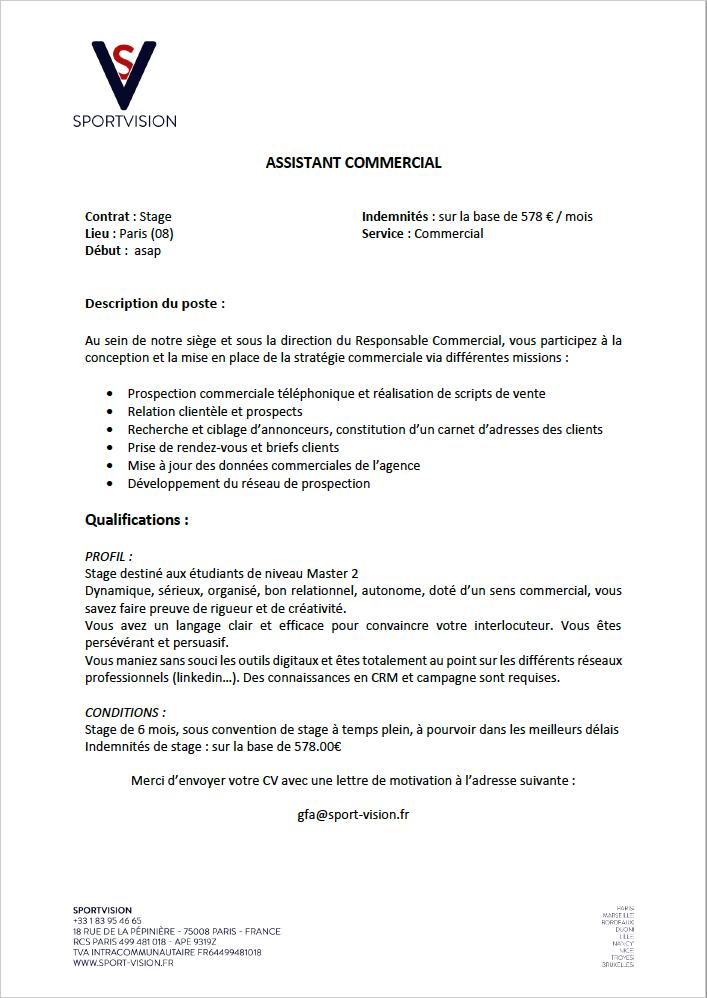 Offre De Stage Assistant Commercial Offre Pourvue Sport Vision